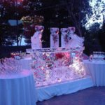 wedding floral ice sculpture