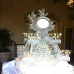 wedding ice sculpture seafood display